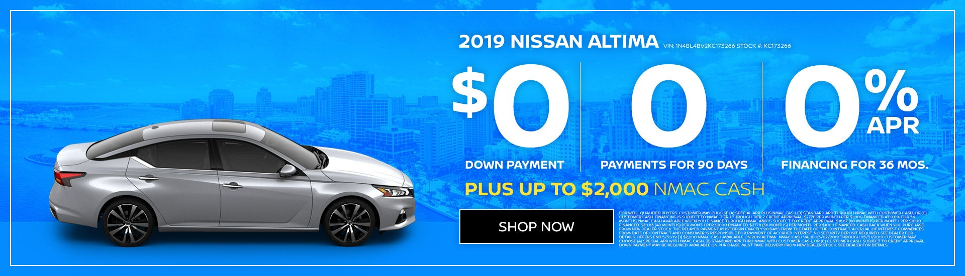 2019 Nissan Altima with $0 down or 0% APR. Expires 5/31